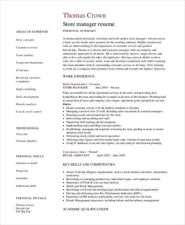 Store Manager Resume - 9+ Free PDF, Word Documents Download Free - sample store manager resume