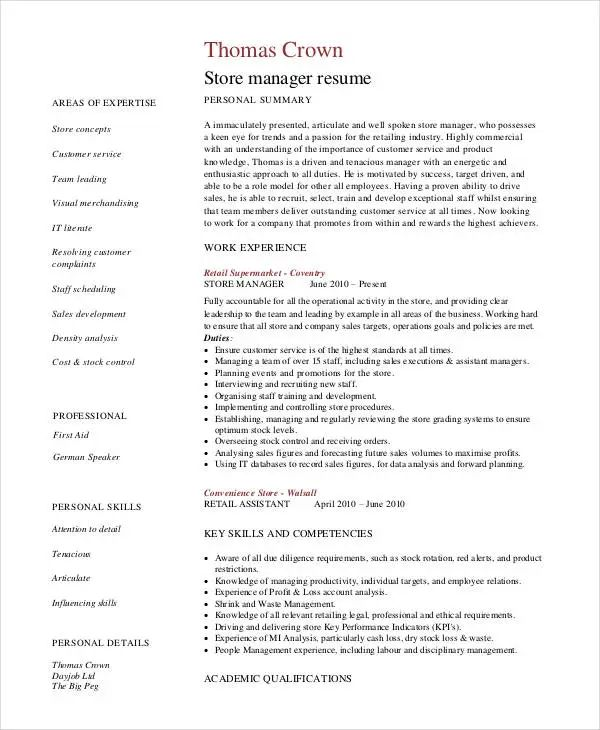 store manager cv