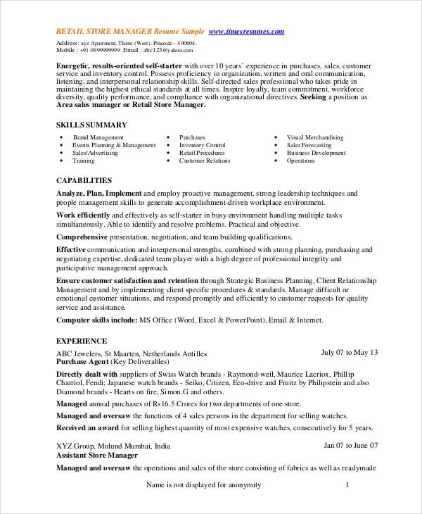 Store Manager Resume - 9+ Free PDF, Word Documents Download Free - store manager resume template