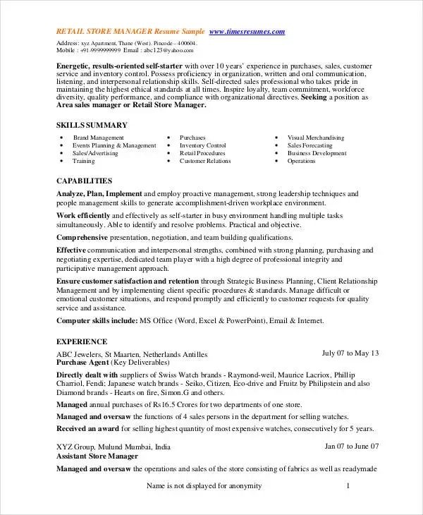 sample retail department manager resume
