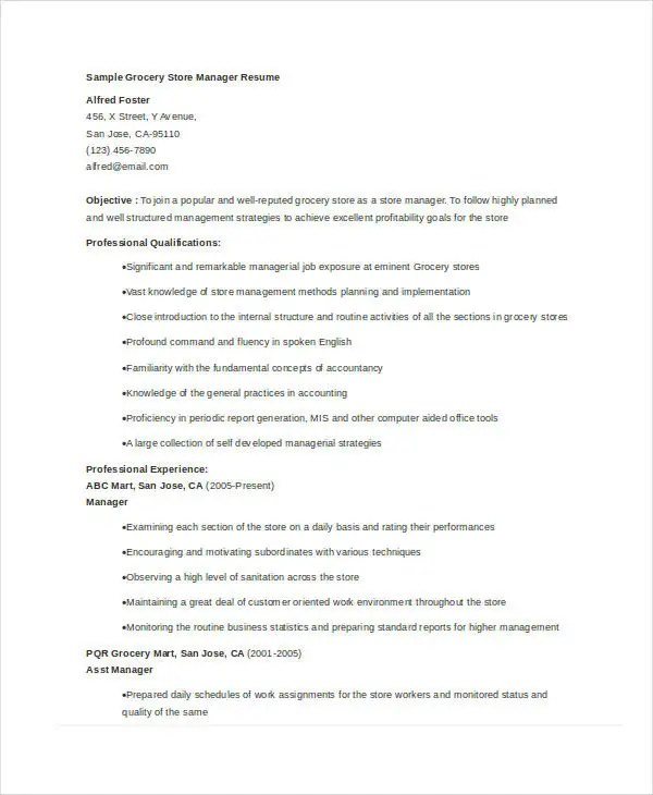 Store Manager Resume - 9+ Free PDF, Word Documents Download Free - furniture company general manager resume