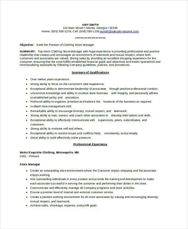 Store Manager Resume - 9+ Free PDF, Word Documents Download Free - Sample Resume Of Store Manager