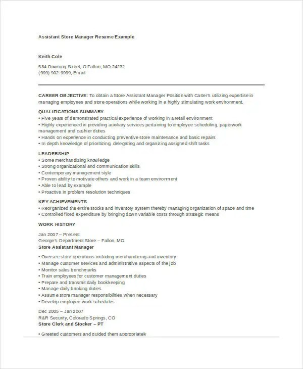 Store Manager Resume - 9+ Free PDF, Word Documents Download Free - Retail Store Manager Resume