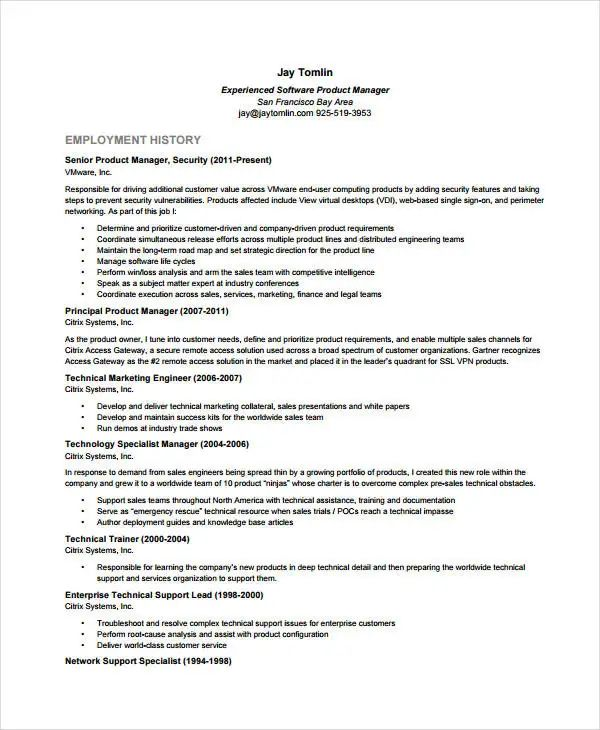 product owner resume