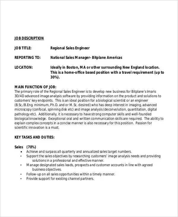 10+ Sales Engineer Job Description Templates - PDF, DOC Free