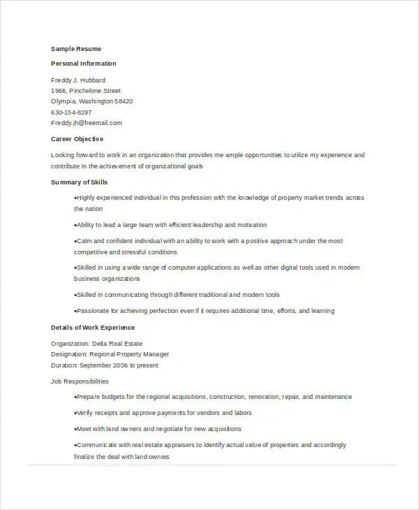 9+ Property Manager Resume Templates - PDF, DOC Free  Premium - property appraiser sample resume