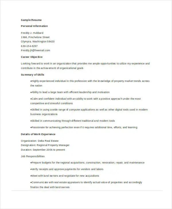 resume examples for property manager