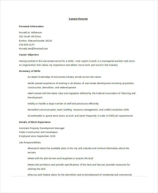 10+ Property Manager Resume Templates - PDF, DOC Free  Premium - career development manager sample resume