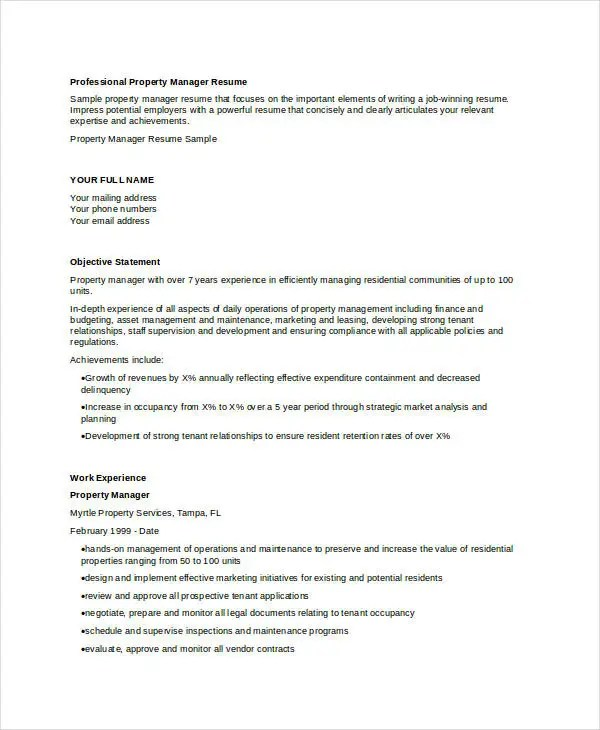 9+ Property Manager Resume Templates - PDF, DOC Free  Premium - property management resumes samples