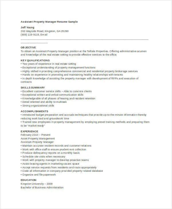 estate manager resume examples