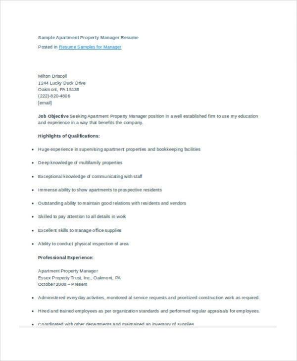 9+ Property Manager Resume Templates - PDF, DOC Free  Premium