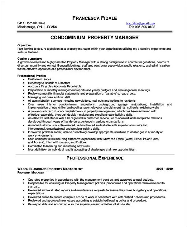 10+ Property Manager Resume Templates - PDF, DOC Free  Premium - public relations supervisor resume