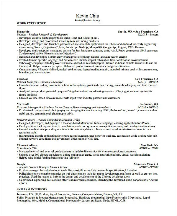 10+ Product Manager Resume Templates - PDF, DOC Free  Premium - product manager resumes