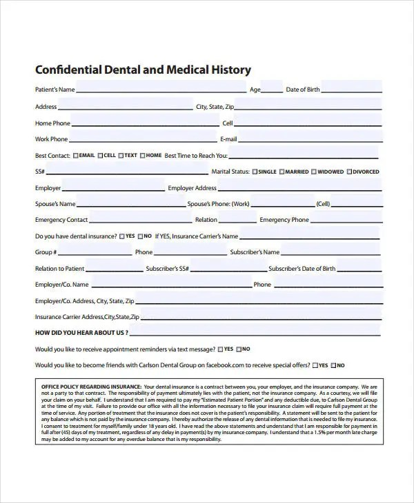 patient medical history form template - Ozilalmanoof
