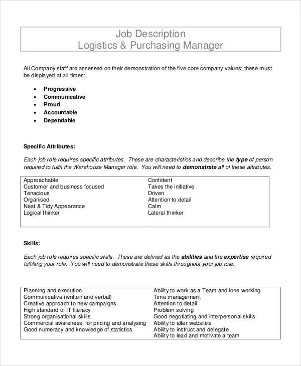 7+ Purchasing Manager Job Descriptions in PDF Free  Premium Templates