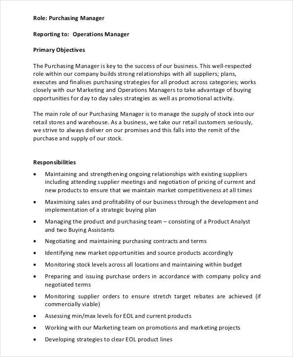 7+ Purchasing Manager Job Descriptions in PDF Free  Premium Templates