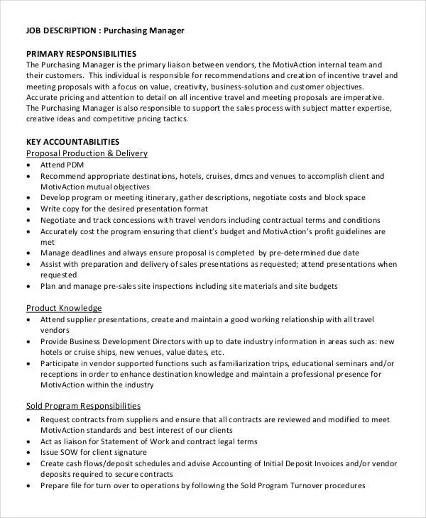 7+ Purchasing Manager Job Descriptions in PDF Free  Premium Templates - purchasing manager job description