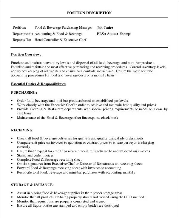 Purchasing Manager Job Description - 7+ Free Word, Pdf - assistant manager job description resume