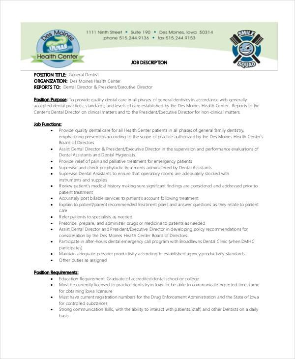 10+ Sample Dentist Job Description Templates - PDF, DOC Free