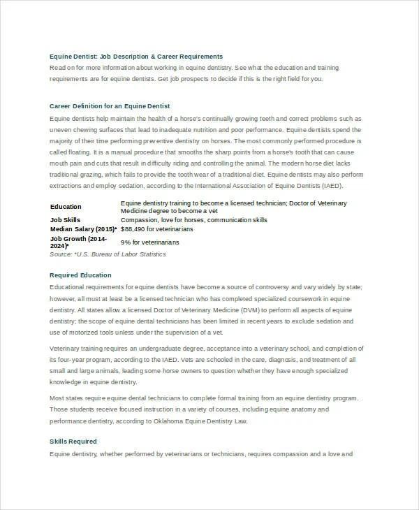 dentist job description efficiencyexperts - veterinarian job description