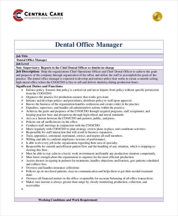 dental office job descriptions