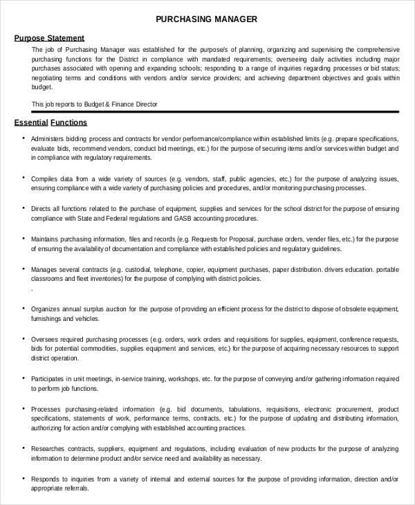 8+ Purchasing Manager Job Descriptions in Docs Free  Premium