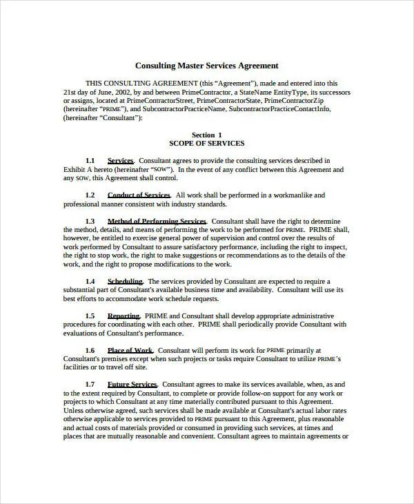 Service Agreement - 9+ Free PDF, Word Documents Download Free - Sample Master Service Agreement