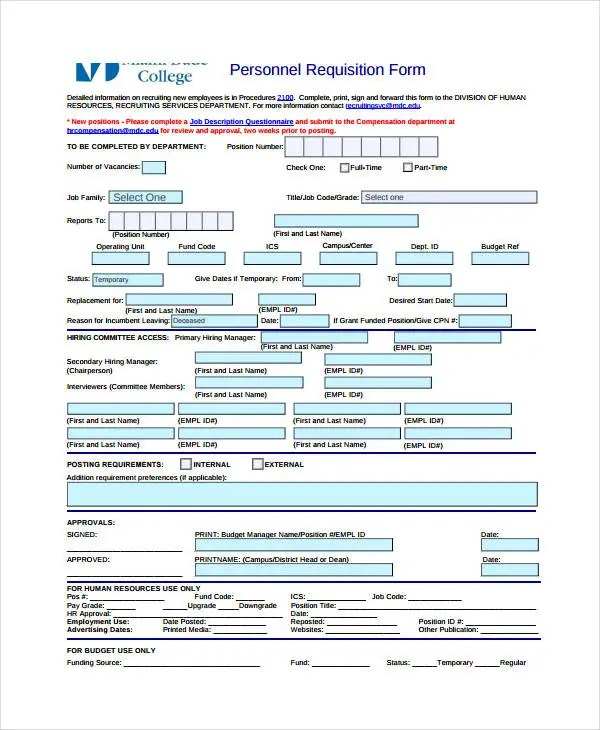 Requisition Form Template - 8+ Free PDF Documents Download Free