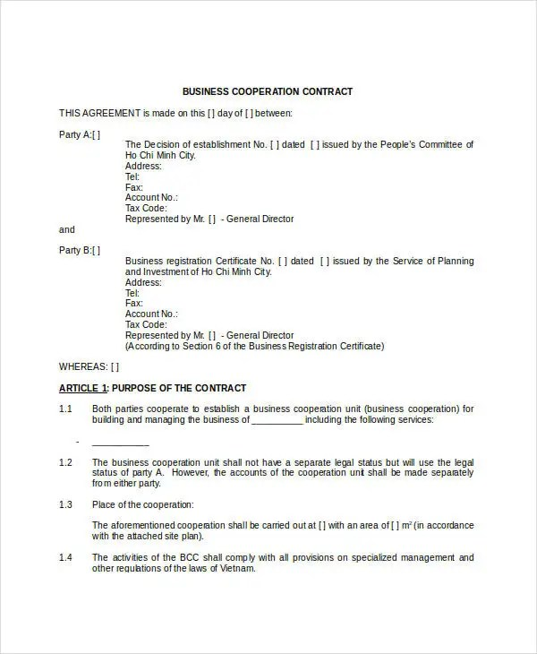 Operations Contract Templates - Resume Template Ideas