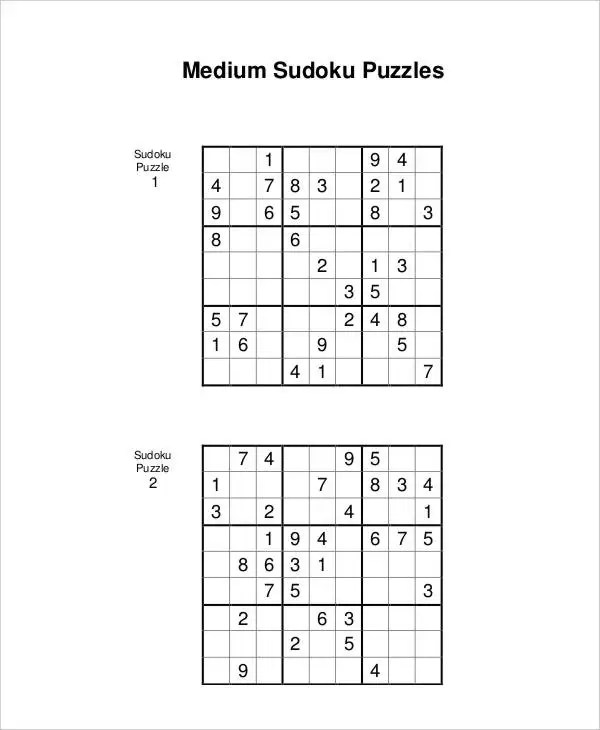 Printable Sudoku Puzzle - 7+ Free PDF Documents Download Free
