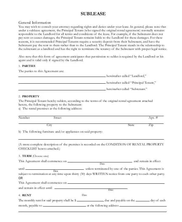 Sublease Contract - 8+ Word, PDF, Google Docs Documents Download