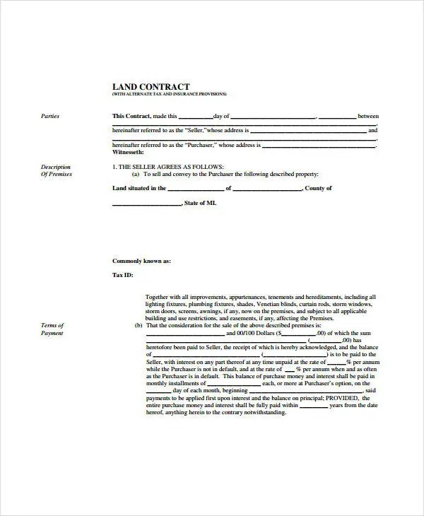 7+ Land Contract Forms - Free Sample, Example, Format Free - free printable contract for deed