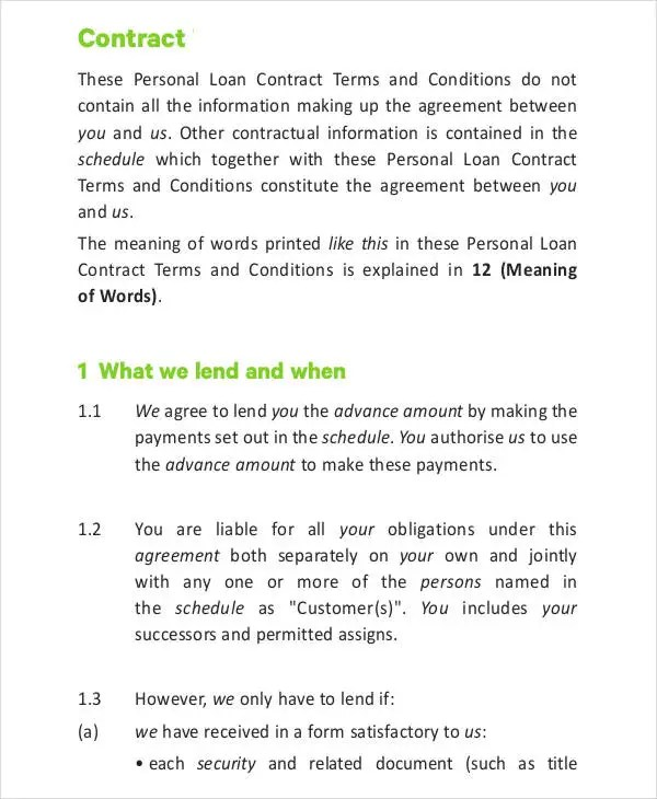 Loan Contract Template - 8+ Free PDF Documents Downloads Free - personal loan contract agreement
