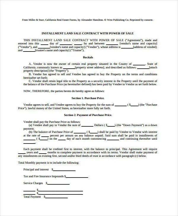 7+ Land Contract Forms - Free Sample, Example, Format Free