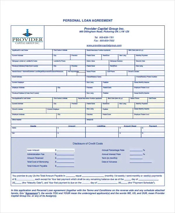 Personal Loan Agreement - 10+ Free PDF, Word Documents Download - Private Loan Agreement Template