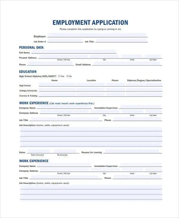 Generic Employment Application Template - 6+ Free PDF Documents - generic employment application