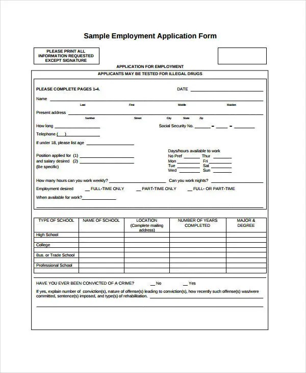 Generic Employment Application Template - 8+ Free PDF Documents - Generic Application For Employment