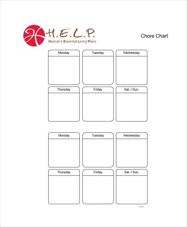 Printable Chore Chart - 8+ Free PDF Documents Download Free