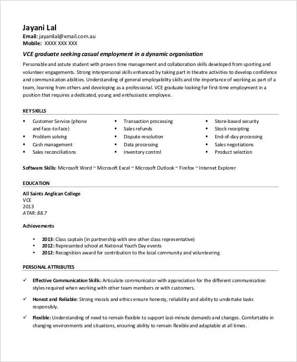 First Job Resume - 7+ Free Word, PDF Documents Download Free - student first resume