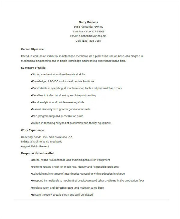 Maintenance Resume - 9+ Free Word, PDF Documents Download Free - industrial maintenance resume