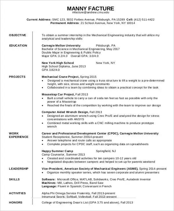 resume for freshers looking for the first job format