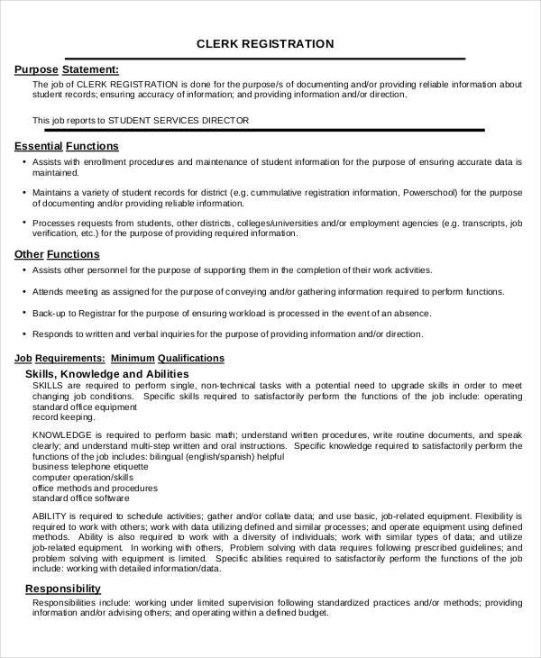 10+ Office Clerk Job Descriptions - PDF, DOC Free  Premium Templates