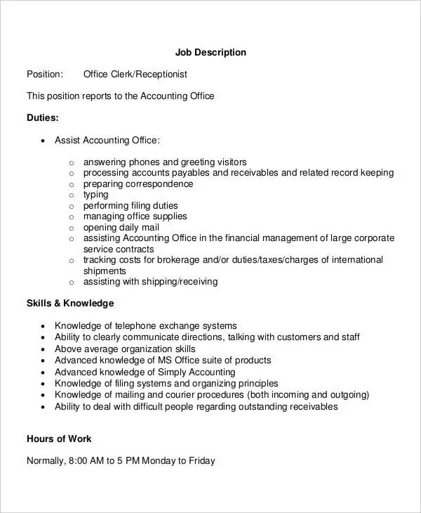 10+ Office Clerk Job Descriptions - PDF, DOC Free  Premium Templates - office clerk job description