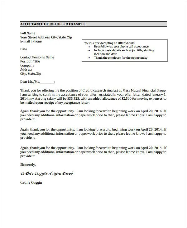 letter accept job offer - Josemulinohouse