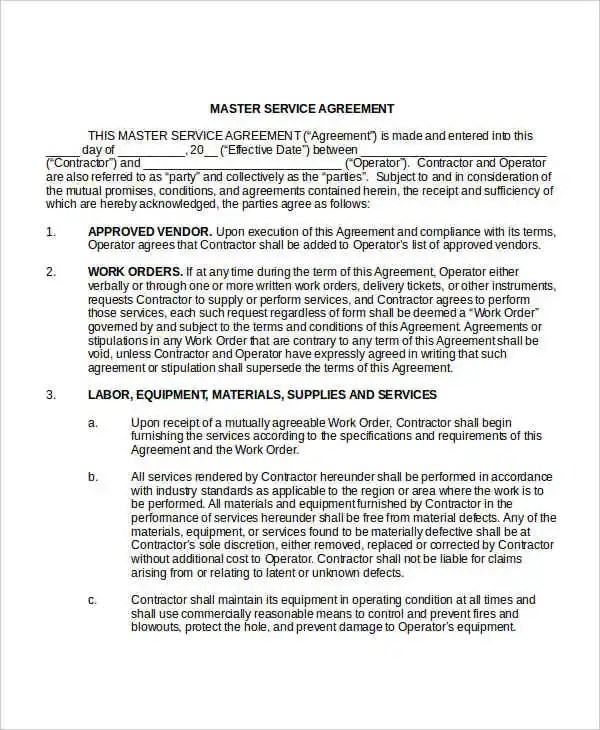 Service Agreement Template - 10+ Free Word, PDF Documents Download - sample master service agreement