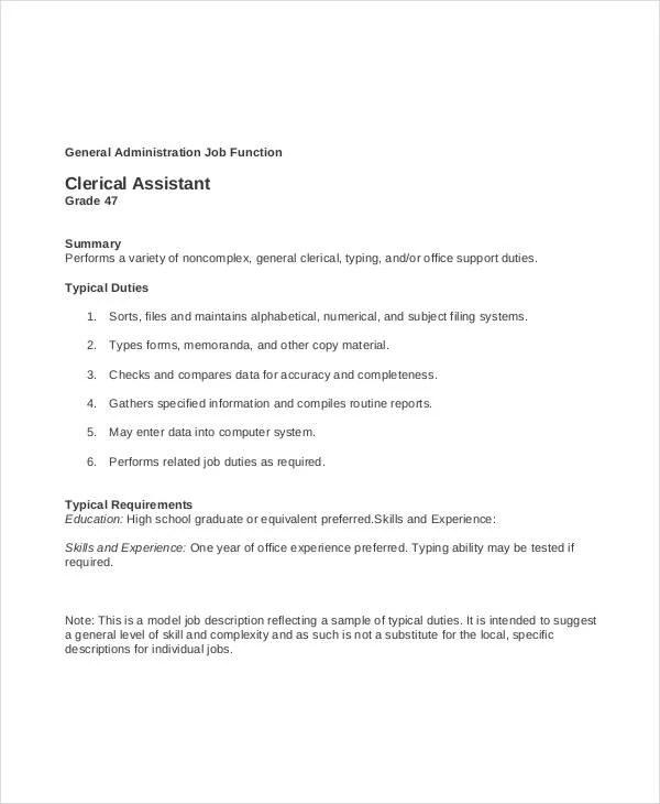 11+ Clerk Job Descriptions - PDF, DOC Free  Premium Templates - clerical duties