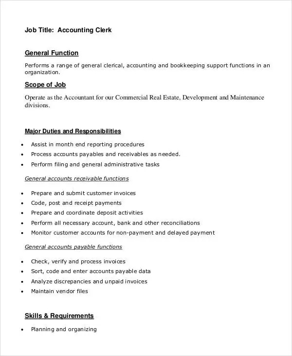 Clerk Job Description - 11+ Free Word, PDF Documents Download - accounting clerk job description