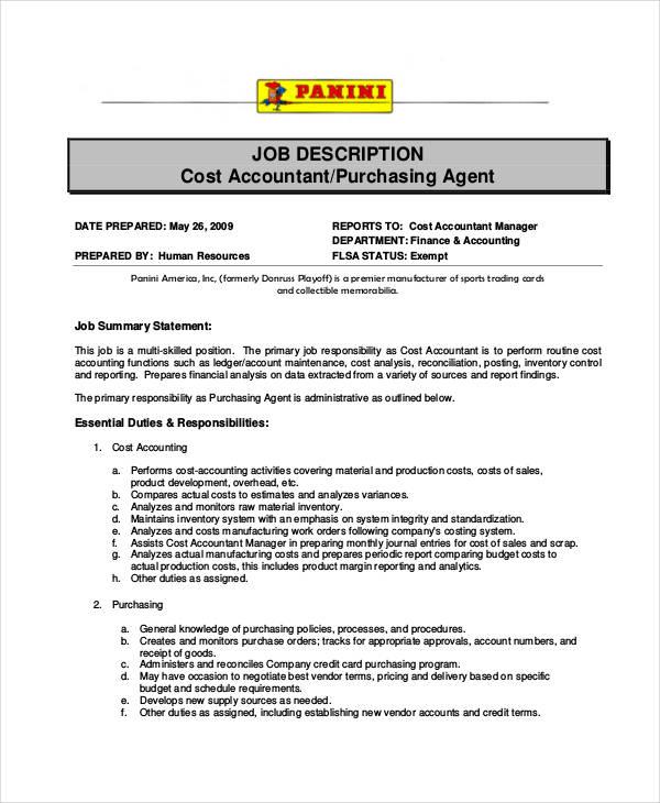 10+ Purchasing Agent Job Description Templates in PDF Free