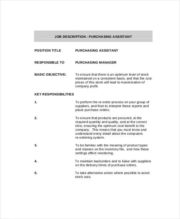 10+ Purchasing Agent Job Description Templates in PDF Free