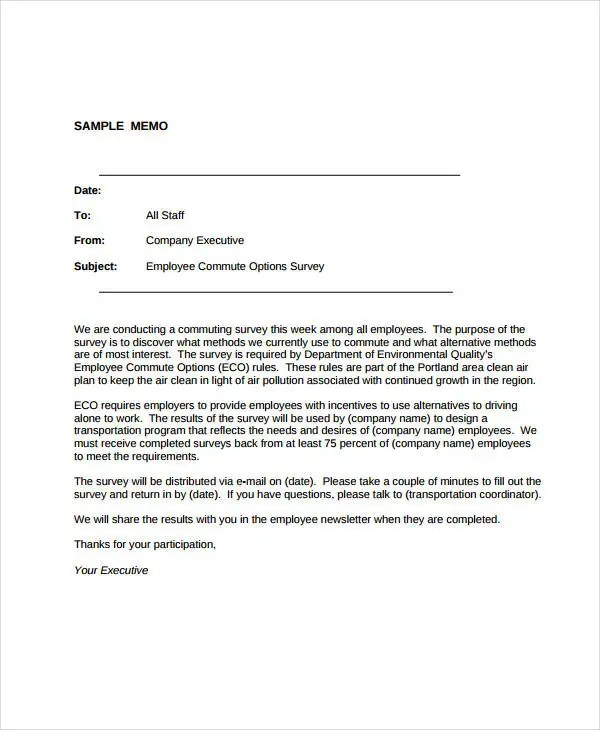Business Memo Format - 21+ Sample Word, Google Docs Format Free